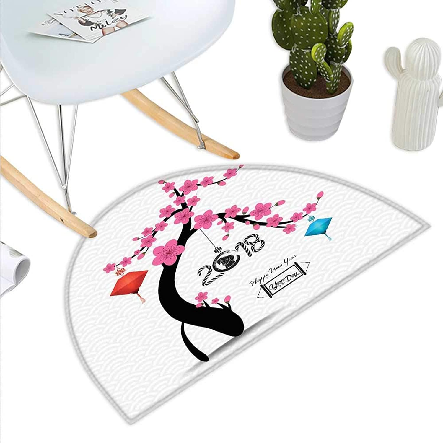Year of The Dog Semicircle Doormat Flourishing Cherry Blossom Tree with Oriental Elements Abstract Nature Halfmoon doormats H 23.6  xD 35.4  Multicolor