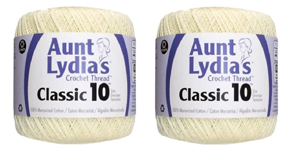 Aunt Lydia's Crochet Thread - Size 10 - Cream (2-Pack)