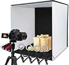 SAMTIAN Photo Box, 24x24 Inches Professional Light Box Shooting Tent Table Top Photography Lighting Kit Foldable Cube with 5 Tripods 4 LED Ring Lights 4 Backdrops and Cell Phone Holder for Photography