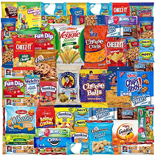 Care Package (52 Count) Ultimate Sampler Mixed Box, Cookies Chips Candy Snacks Box for Office Meetings Schools Friends & Family Military College Women Men Adult Kids Snack Variety Pack