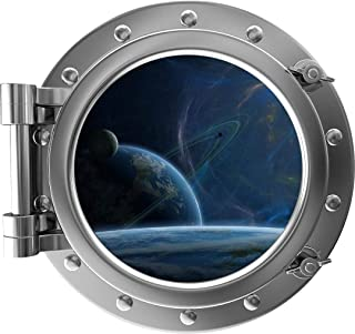 """24"""" PortScape Instant Space View The Final Frontier Silver Porthole 3D Window Wall Decal Removable Fabric Vinyl Wall Stick..."""