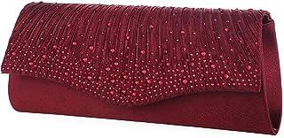 SAIBANGZI Kristall Abend Clutch Geldbörsen für Frauen Flap Hochzeit Bridal Party Handtaschen Small Crossbody Bag-Rot,19,0...