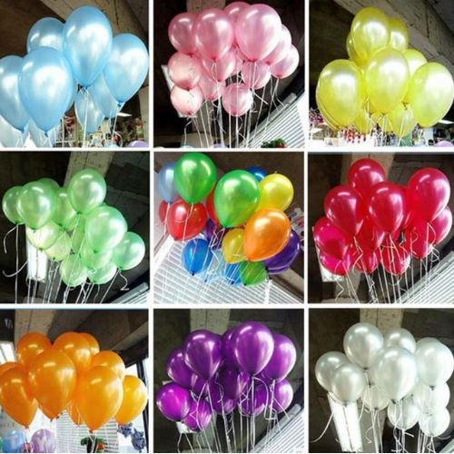 100pcs/lot 10 inch Latex Balloons Thickening Pearl Celebration Helium balloon Birthday decoracio globos Wedding Party supplies (Multicolor) by Completestore