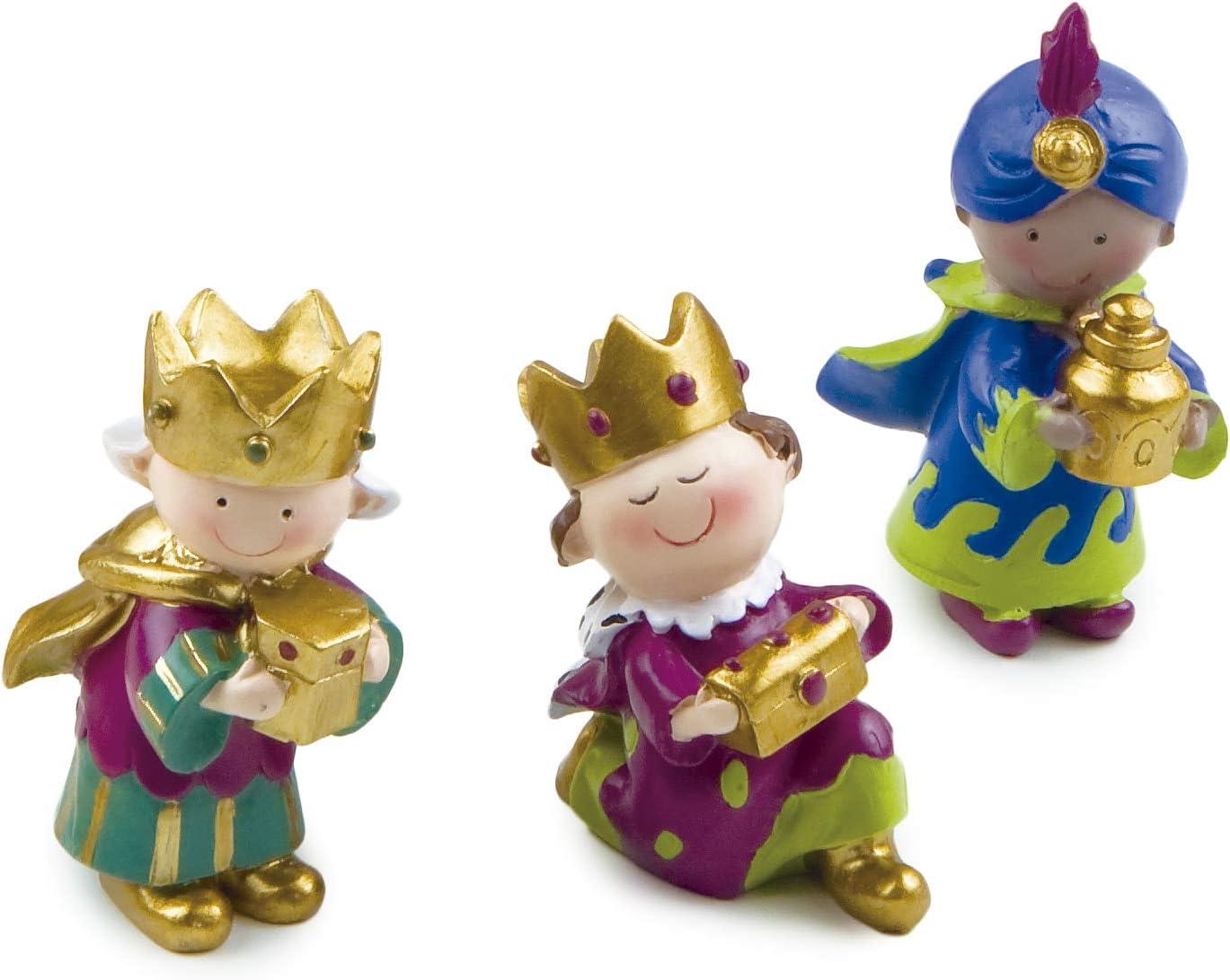 Mopec Figuras de Reyes Magos, Resina, Multicolor, 4x3.5x7 cm, 3 Unidades