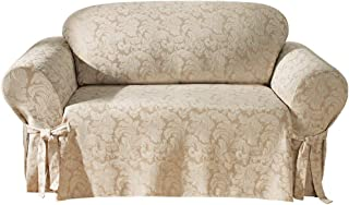 SureFit Scroll Sofa 1 Piece Slipcover, Champagne