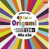 ダイソー 40色 折り紙 120枚入り 簡易折り方マニュアル付き