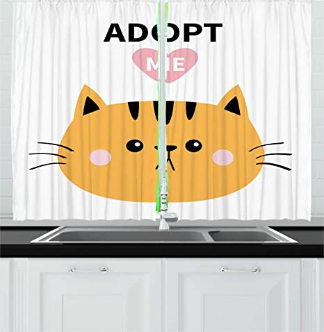 Amazon Com Ambesonne Cat Kitchen Curtains Adopt Me Calligraphy With A Cartoon Style Face Window Drapes 2 Panel Set For Kitchen Cafe Decor 55 X 39 Multicolor Home Kitchen