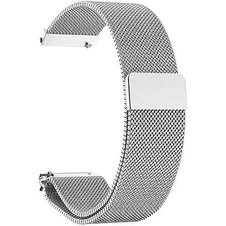 Bracelet de Montre Magnétique,Fermoir Bracelet Réglable en Acier Inoxydable Metal pour Huawei Watch Daniel Wellington iWatch Montres Homme et Femme 14mm 16mm 18mm 20mm Argent
