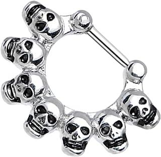 B Baosity 16G Punk Silver Skull Nose Septum Clicker Nipple Rings Monili Penetranti per Il Corpo