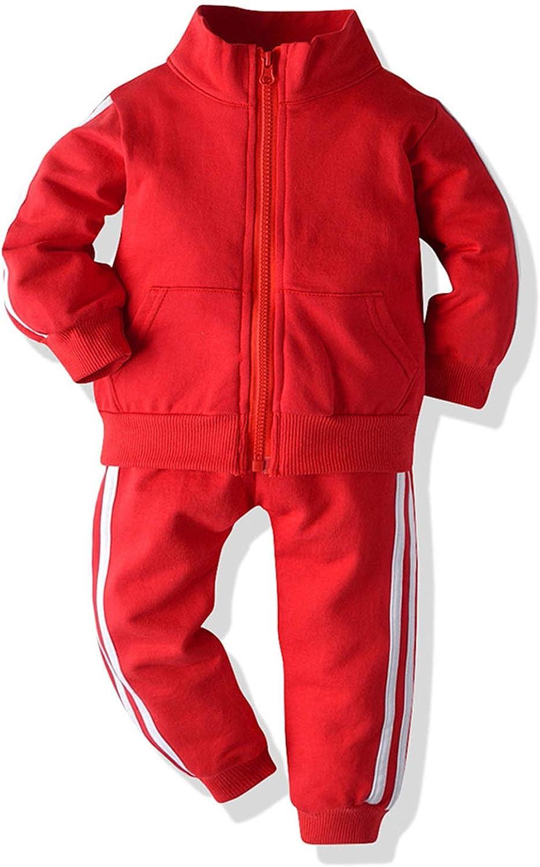 Huimingda Kids Toddler Boys Girls Zip Up Sweatshirt Top and Sweatpants Set Warm Casual Wear Sports Tracksuit