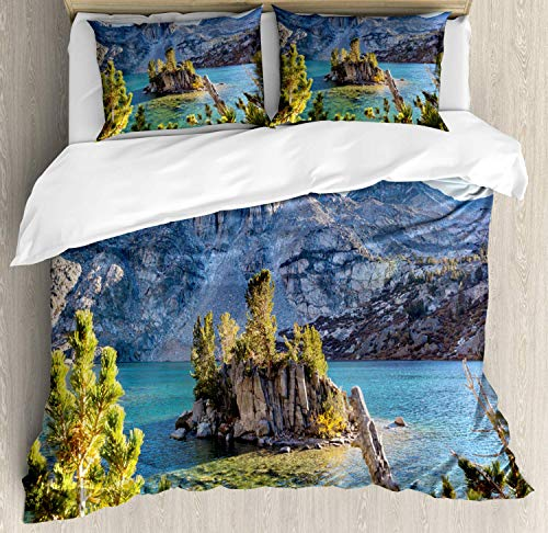 Mountains King Bedding Duvet Cover 3 Piece, Nature Scene of The Sierra Nevada Lake Spring Time, Luxury Soft Bedding Protects Comforter with 1 Comforter Cover And 2 Pillow Case, Yellow Green Blue Grey