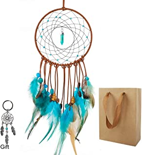 OUTUXED Forest Turquoise Dream Catchers Handmade for Kids Car Bedroom American Feathers Indian Blue Dreamcatcher for Wall Hanging Decoration with Crystal Gift, Dreamcatcher Keychain and Gift Bag