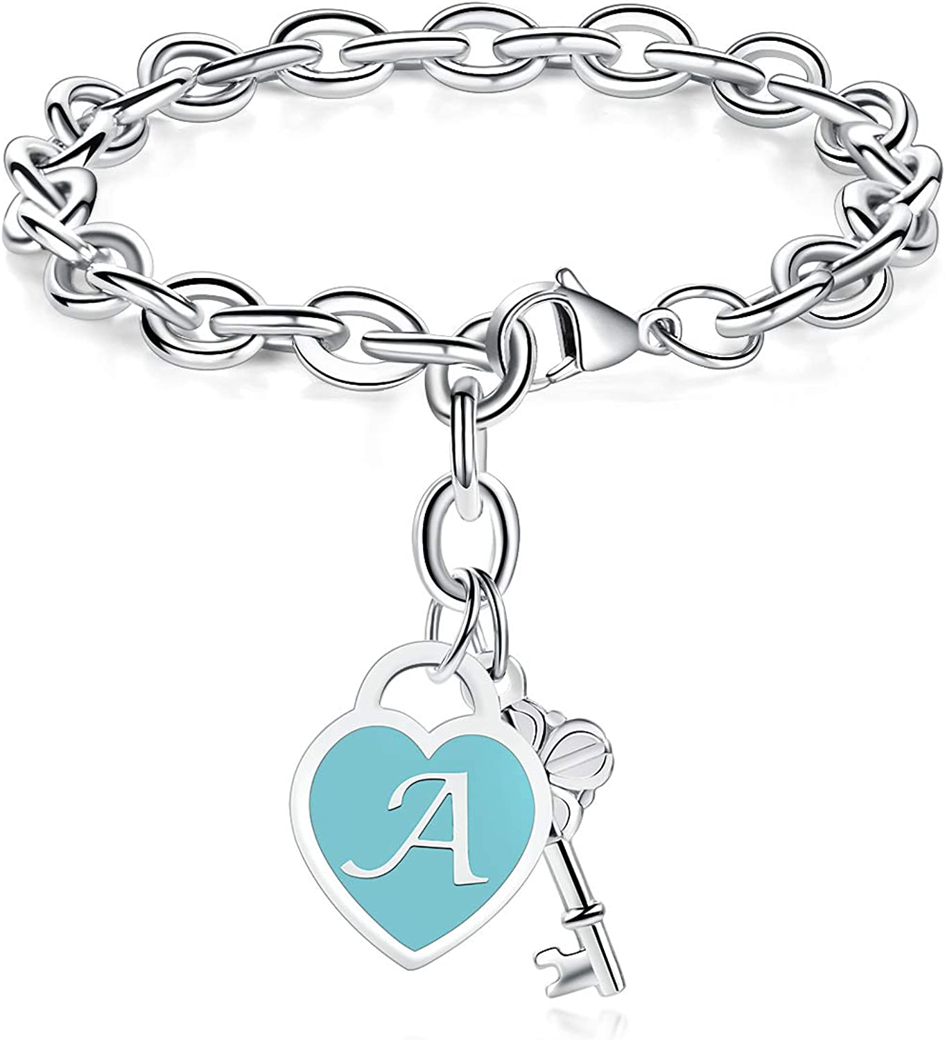 TONY & SANDY Initial Bracelets Heart Engraved 26 Letters Charms Bracelet Stainless Steel Silver Alphabet Bracelet with Cute Key Birthday Christmas Jewelry Gift for Women Teen Girls