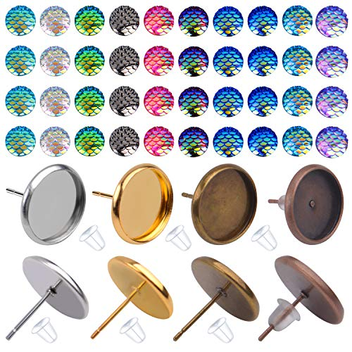 Cabochon Earring Setting, 24 Pieces Stainless Steel Bezel Stud Blanks and and 100 Pieces Fish Scale Glass Cabochons 24 Pieces Bullet Earring Backs for Earring Making