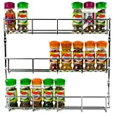 Andrew James Spice Rack Wall Mounted or for Cupboard Door | Metal Storage Organiser Empty Chrome Plated Iron | Fixings Included | Ideal for Inside Kitchen Unit Door