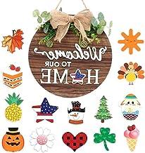 Panneau de porte en bois avec 14 décorations interchangeables pour Noël ou Halloween