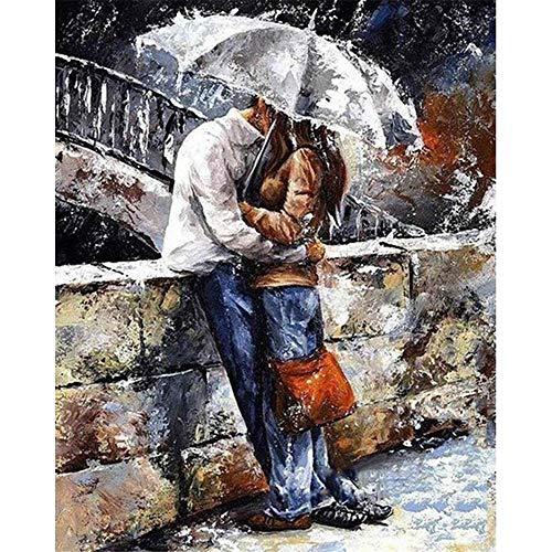 JHDGL Verf door cijfers Romantisch Paar Onder Paraplu voor Volwassenen Kinderen Beginner DIY Digitale Olieverfschilderij 16 * 20 inch met Borstels en Acryl Pigment (Frameless)