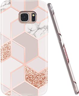JAHOLAN Galaxy S7 Case Bling Glitter Sparkle Rose Gold Marble Design Slim Flexible Bumper Glossy TPU Soft Rubber Silicone Cover Phone Case for Samsung Galaxy S7
