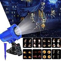 ハロウィーンプロジェクターライト8スライド防水IP65 LEDプロジェクターランプ映画モーションショープロジェクターSpoクリスマスハロウィーン、USPlugのリモートコントロール付きの夕暮れ