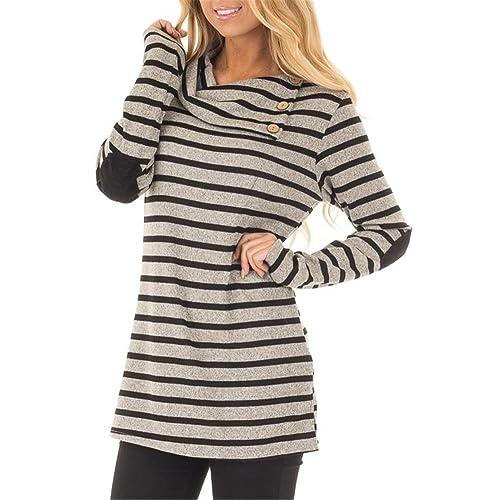2eb935f6a3 ETCYY Women s Long Sleeve Striped Button Cowl Neck Tunic Sweatshirts Tops