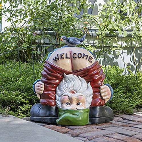 YAOLUU Jardin Decoracion Jardín GNOME Estatua Divertido Enano nalga Bienvenido Sign Sculpture Resin Miniatura Elf Ornamento Decoración para jardín Yarda Césped Estatuas Decorativas