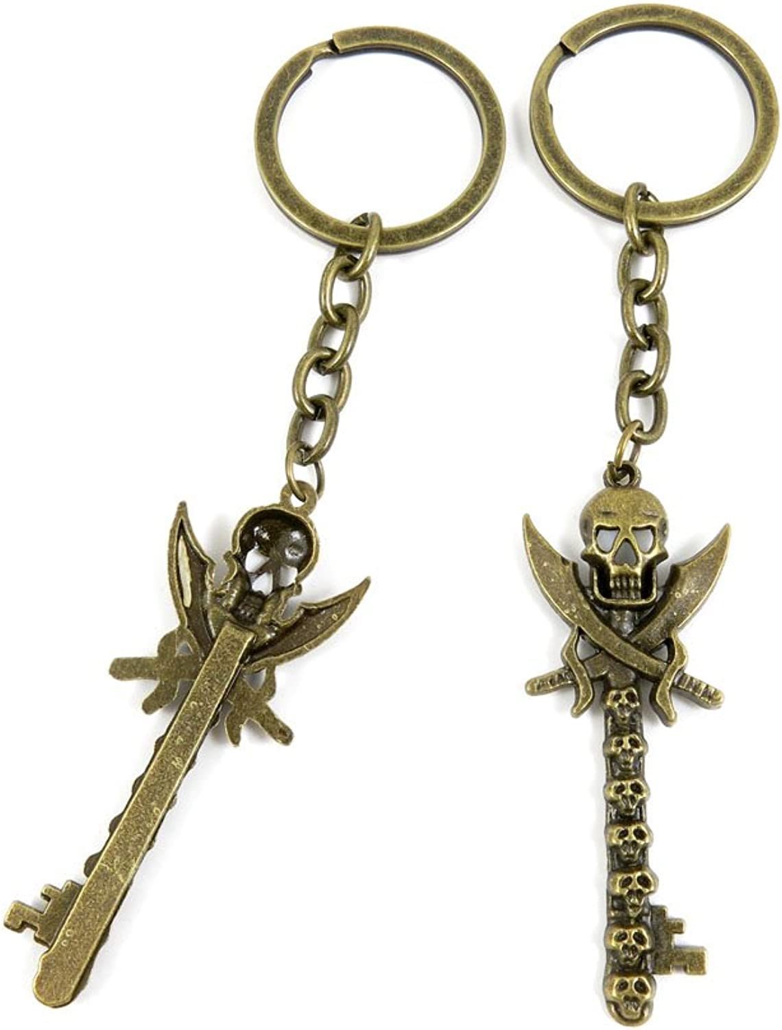 100 PCS Keyrings Keychains Key Ring Chains Tags Jewelry Findings Clasps Buckles Supplies B5MZ6 Pirate Skull Key