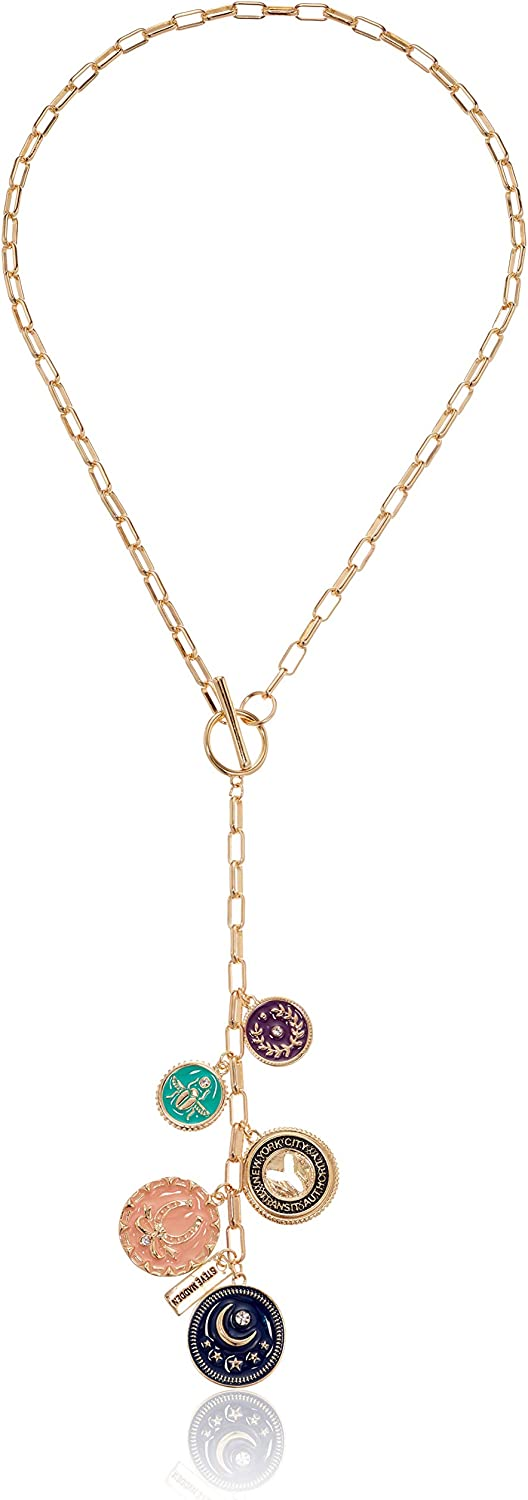 Steve Madden Women's Multicolor Lucky Charm Disc Yellow Gold-Tone Lariat Y Necklace, One Size