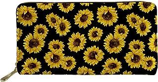 Showudesigns Sunflower Long Wallet Leather for Women Flower Clutch Card Holder Purse Zipper Wallets Soft Multi-Card Phone Organizer Ladies Travel