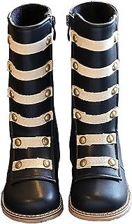 BININBOX Girls Knee High Leather Winter Boots Rivet Warm Cotton Toddler Boots