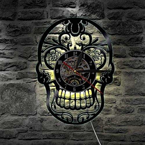 1 stuk vinyl wandklok met verlichte gotische suiker schedel klok woondecoratie rustig-With_Led