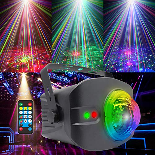 Strobe Disco Ball Light DJ Party Lights Laser Projector for Smoke Machine Stripper Pole Halloween Karaoke Adults Trippy Room Decor Speakers Equipment Parties Sync with Music Stage Cool Lighting