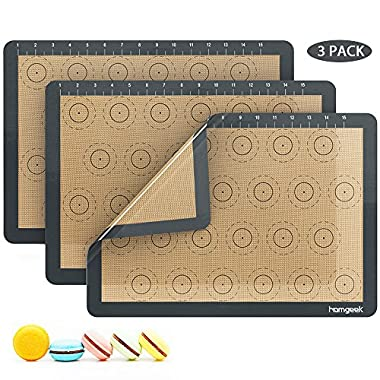 Homgeek Silicone Macaron Baking Mat with Measurements, Set of 3 Large Reusable Professional Non Stick Silicon Liner for Bake Pans & Rolling, Macaroon/Pastry/Cookie Making, 16.5  x 11.6 , Brown