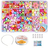 HOMEJIA 24 Different Types Children DIY Bead Set DIY Handmade Beaded Toy with Accessory Set Children Creative Girl Weaving Bracelet Necklaces Ring Jewelry Making Toys Children Gift