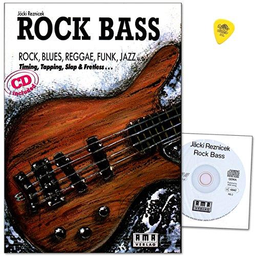 Rock Bass - Schule von Jäcki Reznicek - Grundlagen, Equipment, Übungen, Tonarten, Rhythmik - Lehrmaterial mit CD und Original Dunlop Plek