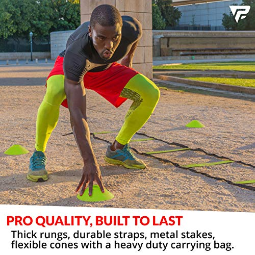 Product Image 4: Pro Agility Ladder and Cones – 15 ft Fixed-Rung Speed Ladder with 12 Disc Cones for Soccer, Football, Sports, Exercise, Workout, Footwork Training – Includes 4 Stakes, Heavy Duty Carry Bag (Yellow)