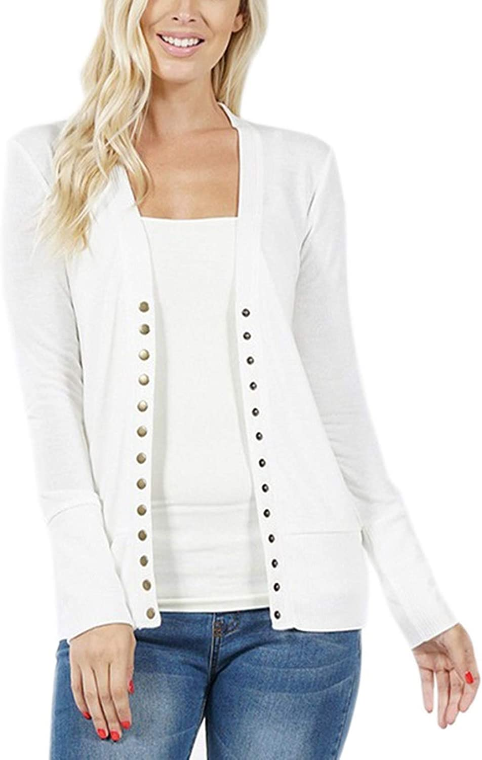 Raven Snap Button Sweater Cardigan with Ribbed Detail