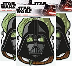 Star Wars Birthday Party Masks ft. Yoda, Chewbacca, Darth Vader and Storm Trooper, 8 ct (3 Pack)