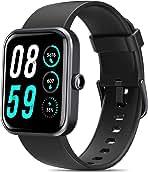 ساعت هوشمند AOKESI 1.69 اینچی برای گوشی های اندرویدی iOS ، ساعت های مردانه زنان با Alexa داخلی ، ردیاب فعالیت 5ATM ضد آب با ضربان قلب 24/7 ، اکسیژن خون ، مانیتورینگ انرژی بدن مشکی