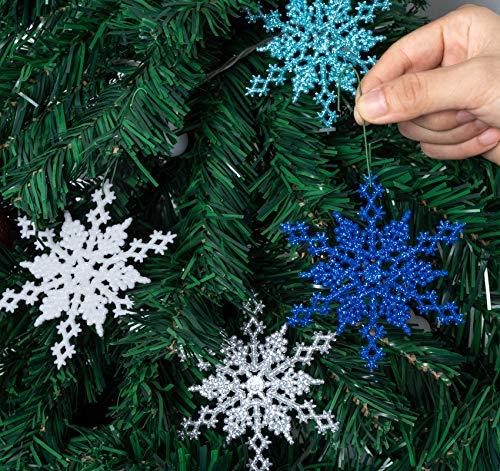 32 Piezas de Adornos de Copo de Nieve, Coloridas Decoraciones de Plástico...