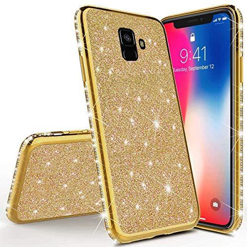 Karomenic Silikon Hülle kompatibel mit Samsung Galaxy J6 2018 Glänzend Bling Glitzer Schutzhülle Weiche TPU Handyhülle Diamant Dünn Slim Bumper Tasche Case Cover für Frauen Mädchen,Gold