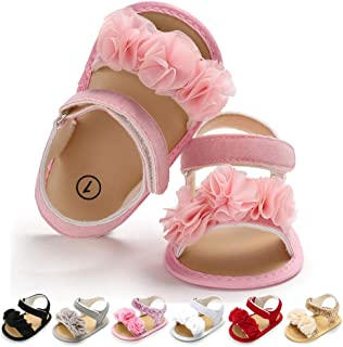 Infant Baby Girls Summer Sandals Folwer Soft Sole Toddler First Walker Crib Dress Shoes