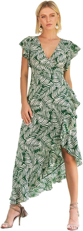 Summer Printing V Collar Dress Vacation Irregular Maxi Dress (Size   XL)