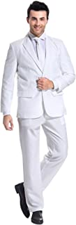 U LOOK UGLY TODAY Mens Party Suit Solid Color Leisure Suit for Holiday Party Jacket with Tie & Pants