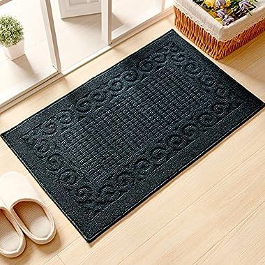 Ozzptuu Rectangle Non-Slip Kitchen Bedroom Toilet Doormat Floor Rug Mat Keeps your Floors Clean Decorative Design (Large, Dark Blue)