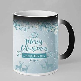 TheYaYaCafe Christmas Gifts Magic Coffee Mug, 330 ml with Coaster - Merry Christmas and Happy New Year