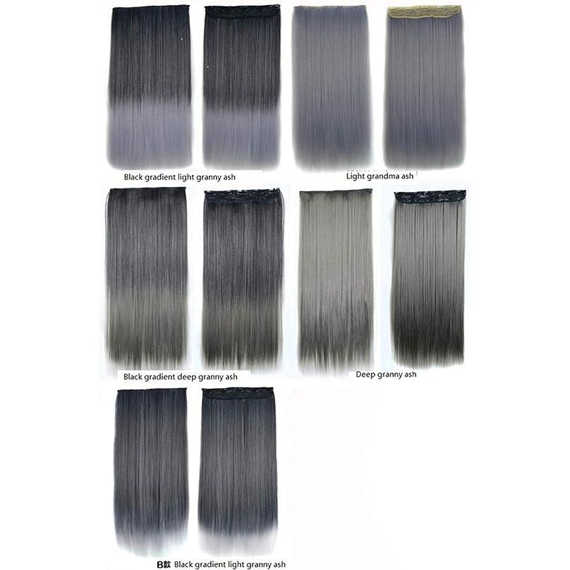 クルーズ包括的忌み嫌うBOBIDYEE 60センチメートル人工毛エクステンション5クリップでヘアカラーグラデーションかつらワンピースロングストレートヘアピース複合ヘアレースかつらロールプレイングかつら (色 : Black gradient light granny ash)