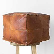 ArtOuarzazate Moroccan Square Poufs Handmade - Comfortable Ottoman & Footrest - Natural Brown Color (Brown)