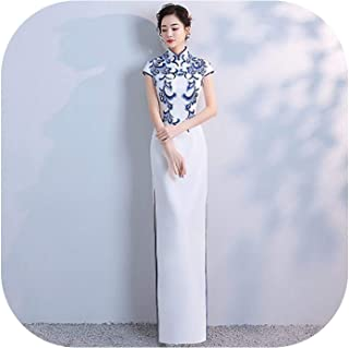 Bluecandy Robe Rouge Orientale Cheongsam China Red Qipao Evening Dress Long Fishtail Sexy Night Gowns Bride Ceremonial