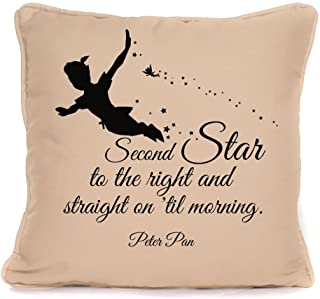Peter Pan Quote 'Second Star to The Right' Throw Pillowcase  18x18 Inch Disney Cushion Pillow Cover