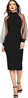 Women's Mock Neck Long Mesh Sleeve Zipper Back Sheath Dress